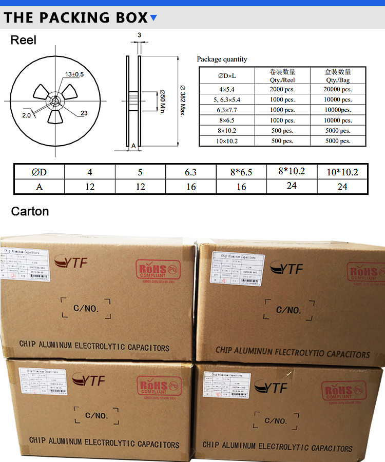 overseas wholesale 50V 3.3UF smd capacitors