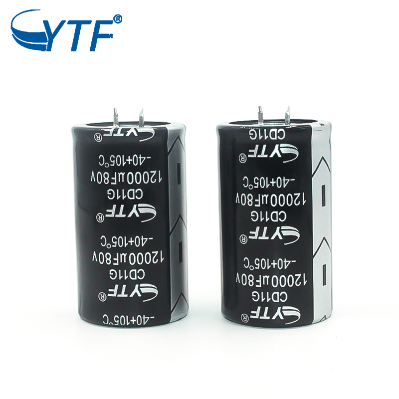 YTF screw terminal snap in aluminum electrolytic capacitor 80v 12000uf 35x60